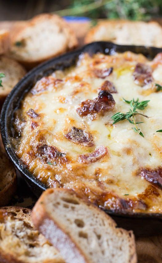 Hot Caramelized Onion Dip with Bacon and Gruyere: