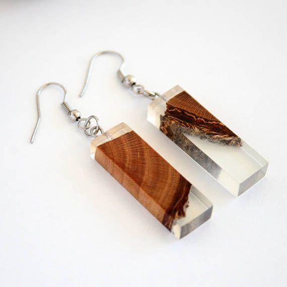 Boho Bohemian Handmade Resin & Plum Wood Geometric Jewellery
