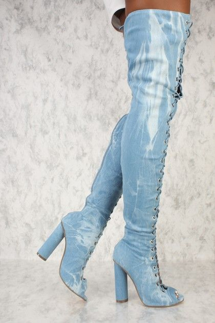 a77373af0f9 Sexy Washed Denim Front Lace Up Chunky Heel Thigh High Boots #AD ...