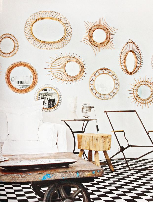 Rattan mirror gallery wall- get the look. You can get two very cute ones from urbanoutfitter.com for $30!