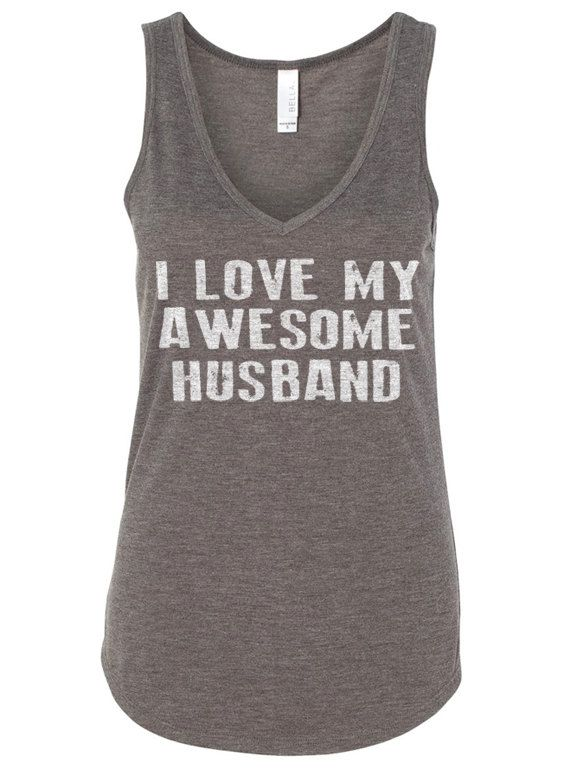 Wife Gift I Love My Awesome Husband Womens Tank Flowy by ebollo
