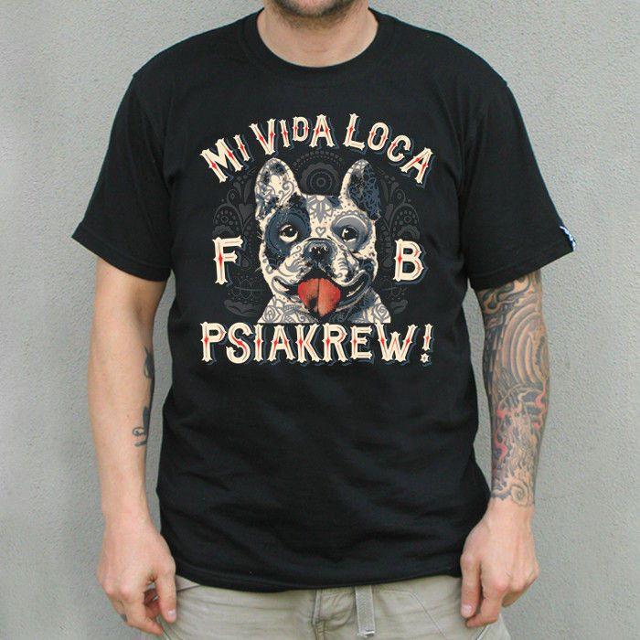 French Bulldog T-shirt Mi Vida Loca, hand print T-shirt by PSIAKREW on Etsy