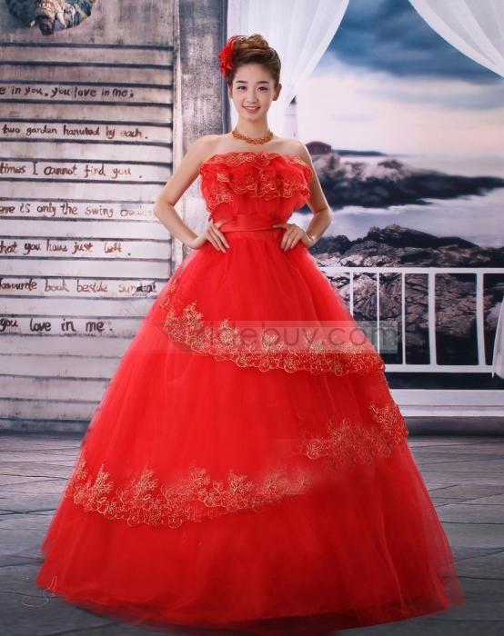 Aラインウェディングドレス ストラップレスボールガウン 多層式 レースロング赤いドレス