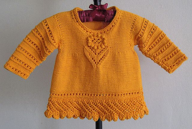 FREE KNITTING PATTERN Lacy Sweater by violiknit, 6 months to 4 years