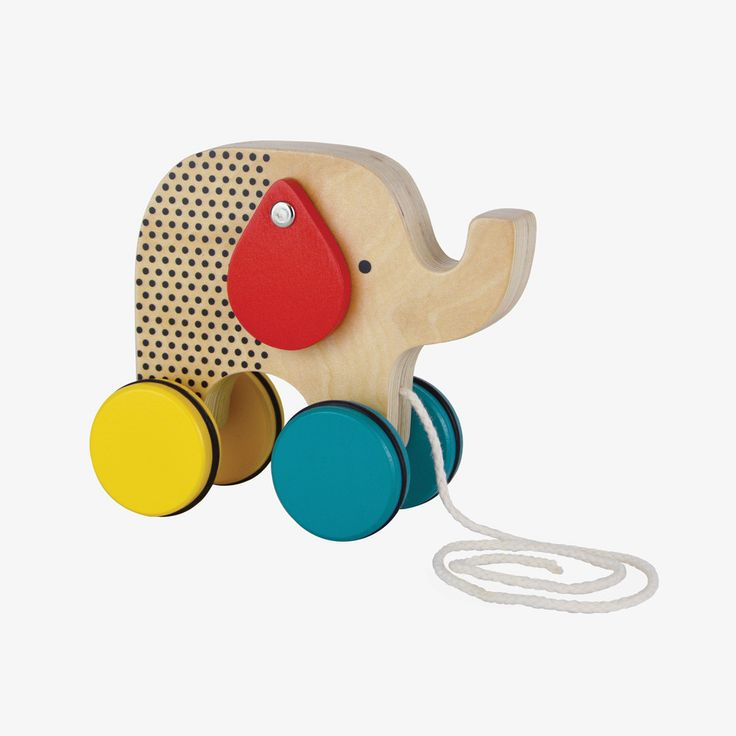 A classic pull toy with a modern look. Little walkers will enjoy taking this sweet elephant for a stroll and watching his floppy ears swing to and fro as he wobbles along behind them! See also Modern