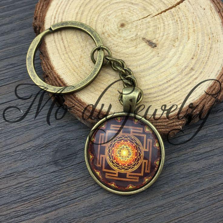Thời trang Phật Giáo Sri Yantra Keychain Thiêng Liêng Hình Học Sri Yantra Đồ Trang Sức, đồ trang sức bán buôn