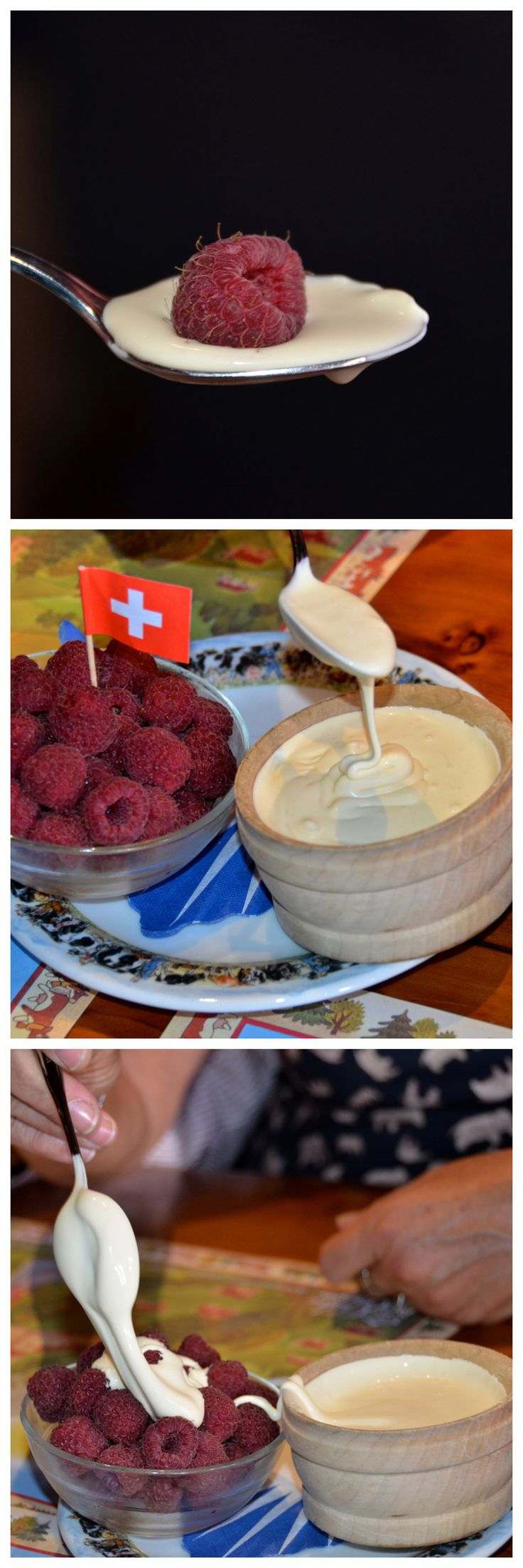 Crème de Gruyère and raspberries at Restaurant Chalet de Gruyères. It is a deliciously thick cream famous for its high butterfat content. #Gruyères #Switzerland
