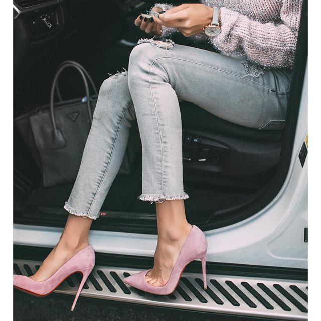 Pink Suede Heels via @hellofashionblog | 22.01.16-This Is Glamorous