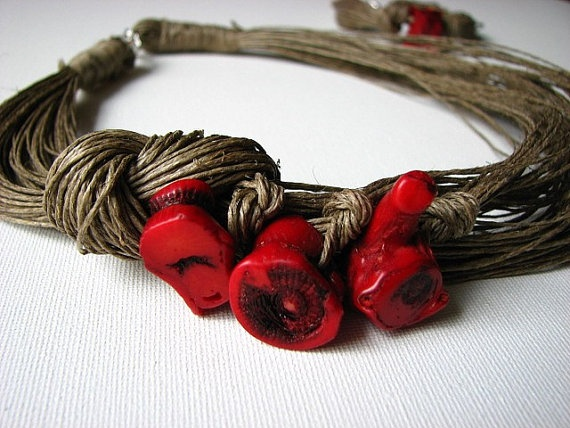 From Europe!  NatuRal ReD coRaL  linen necklace by GreyHeartOfStone on Etsy, $30.00