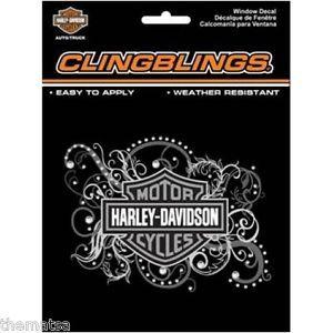 HARLEY DAVIDSON FEMALE BAR SHIELD SILVER BLACK CLING BLING 3D STICKER DECAL