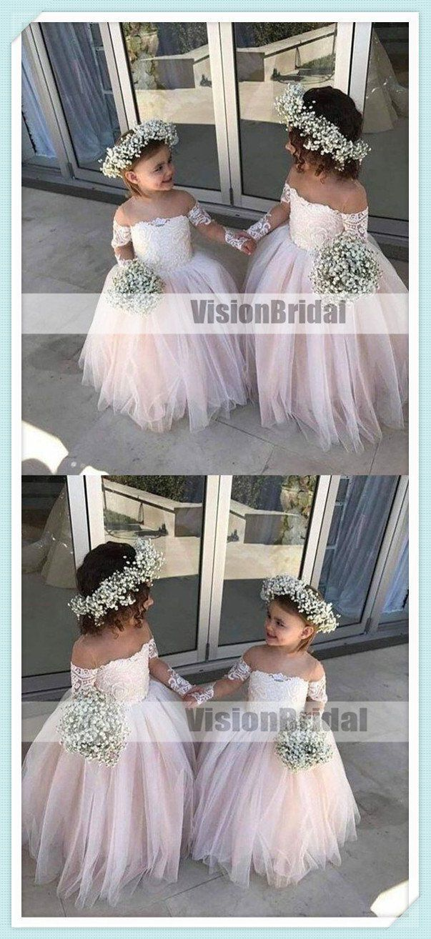 c838bcf5adfe Lovely Pink Off Shoulder Top Lace Ball Gown Flower Girl Dresses, A-Line Tulle  Flower Girl Dresses, Flower Girl Dresses, VB0881 #flowergirl  #flowergirldress