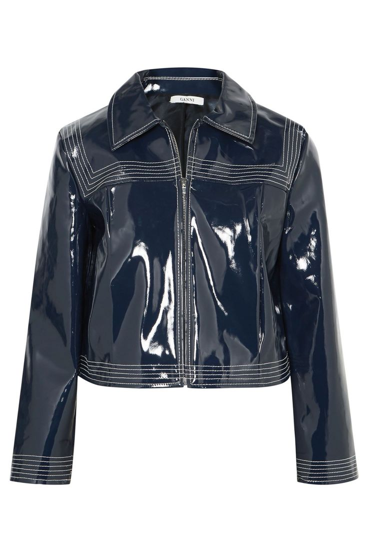 Patent Leather  Give your trusty leather moto jacket a rest in favor of this glossy alternative. Ganni Cropped Faux Patent-Leather Jacket, $350; net-a-porter.com