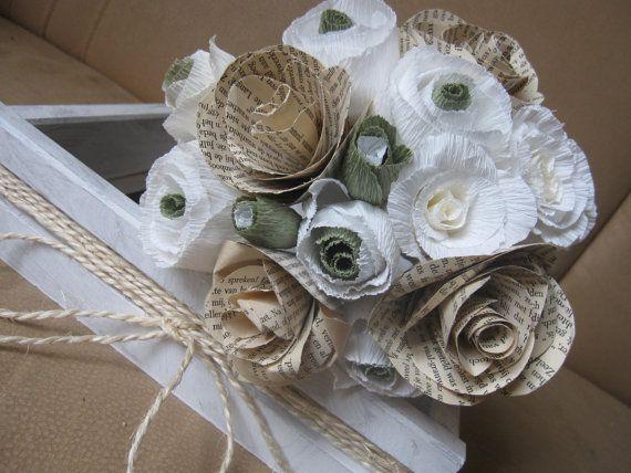 Vintage Bride Bouquet Paper flowers  love story by moniaflowers