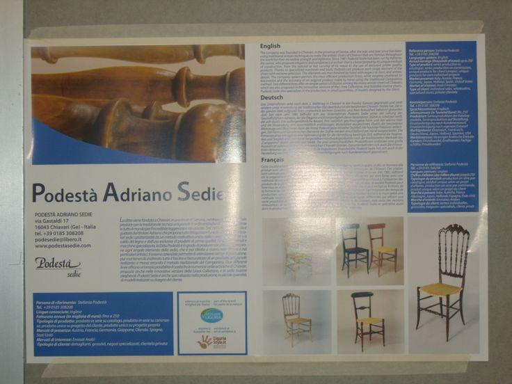La storia di un'impresa dalla lunga tradizione: Podestà Adriano Sedie - Chiavari (Genova) dal 1981