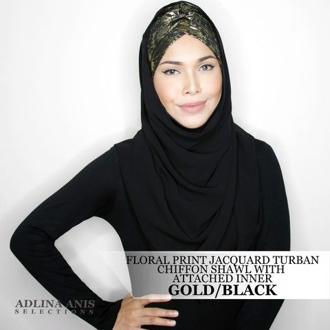 FLORAL PRINT JACQUARD TURBAN CHIFFON SHAWL WITH ATTACHED INNER - GOLD/BLACK  $68.00 SGD  Limited Edition Slip-on Turban with shawl and attached ninja providing a fuller coverage. Style it like the onesie. Size: Fits small to medium  You'll find only the best hijabs / tudungs / scarves that are shipped worldwide.  Click through to the website to find out more.