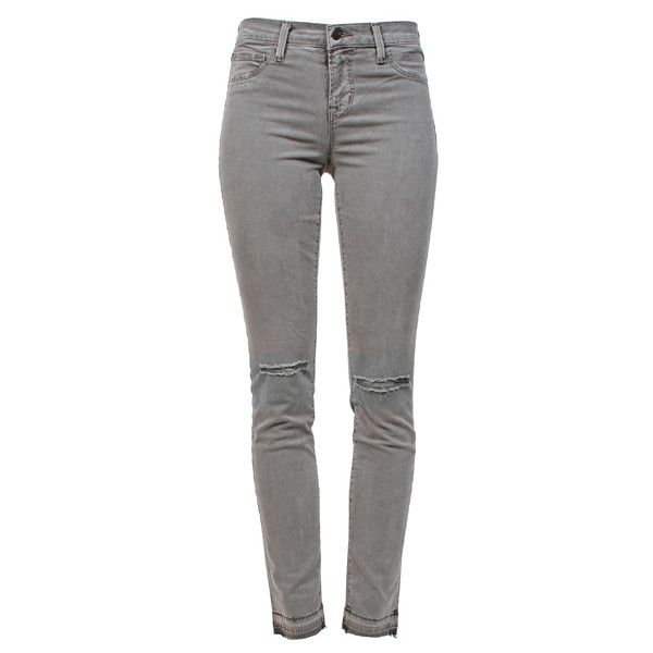 J BRAND Midrise Skinny Silver Fox ($210) ❤ liked on Polyvore featuring jeans, pants, bottoms, trousers, super skinny jeans, distressed jeans, destroyed jeans, j-brand skinny jeans and ripped skinny jeans