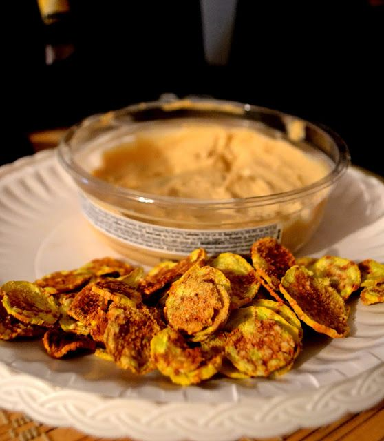 Summer Squash Chips with Hummus [Tammy's Note: came out steamed, not crispy, but still tasted great. Made with Old Bay]
