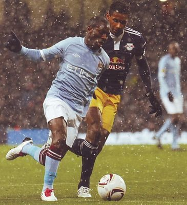Man City 3 RB Salzburg 0 in Nov 2010 at Eastlands. Shaun Wright Phillips comes forward for City in the Europa League, group stages.