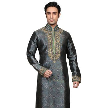 Blue and Green Jacquard Art Silk Readymade Kurta with Churidar