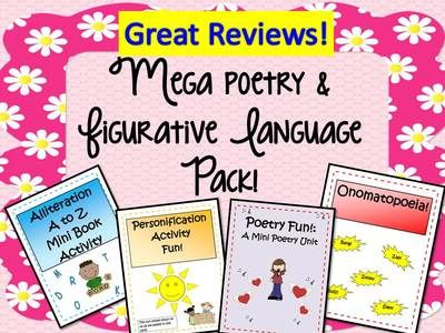 Entire Shop is 50% Off -Mega Poetry and Figurative Language Pack! 54 pages from EngagingLessons on TeachersNotebook.com - (54 pages) - This Literacy Activity Bundle is packed full of creative and engaging activities! There are 4 activity books included : Poetry Fun! ( 28 page poetry unit) Alliteration A-Z Mini Book ( An alliteration lmini lessons & 28 pg mini book) Personificati