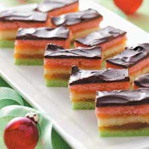 Almond Venetian Dessert Recipe -These beautiful bars feature three colorful cake-like layers, an apricot filling and a chocolate topping. —Reva Becker, Farmington Hills, Michigan