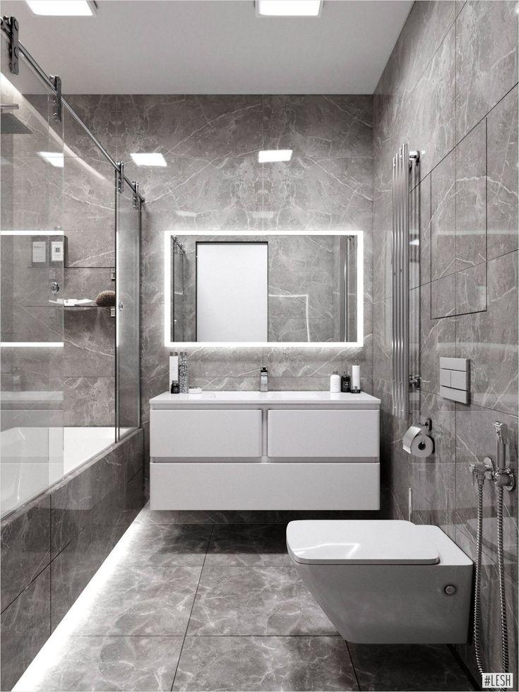 Монохромный интерьер ванной