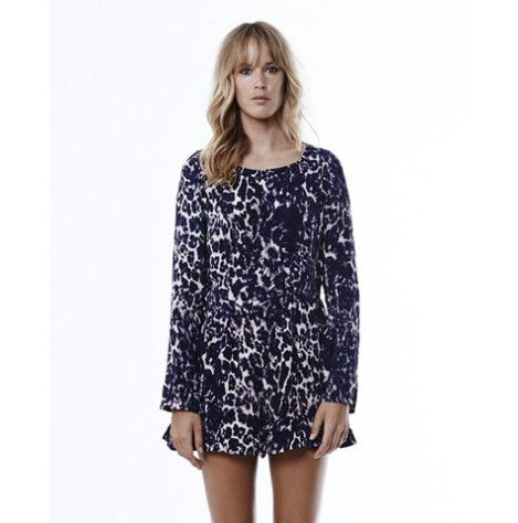Tigerlily Jumeaux Onesie - Leopard. This jumpsuit features a unique signature Tigerlily leopard print in a rich indigo tone with soft peche highlights. Fitted party style with exposed metal centre back zip and cotton tassel puller