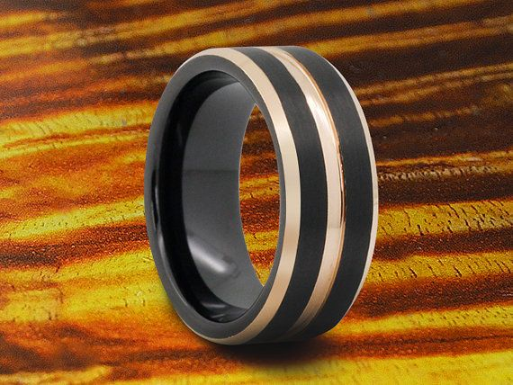 Black Tungsten Wedding Band With Rose Gold by WeddingBandWorld