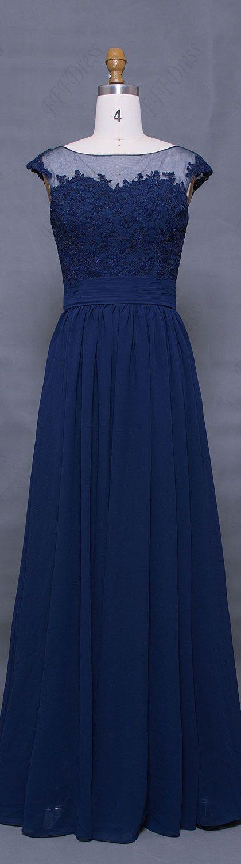 Navy blue prom dresses cap sleeves modest prom dresses long elegant lace evening dress for prom bridesmaid dresses