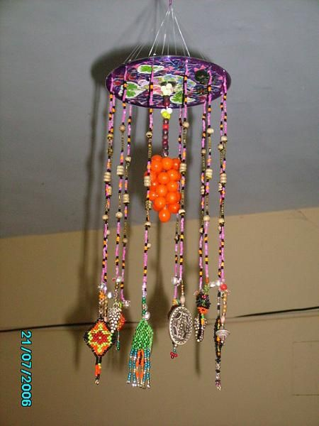 Crafts ideas using trash craft work hangings using for Craft work with waste material