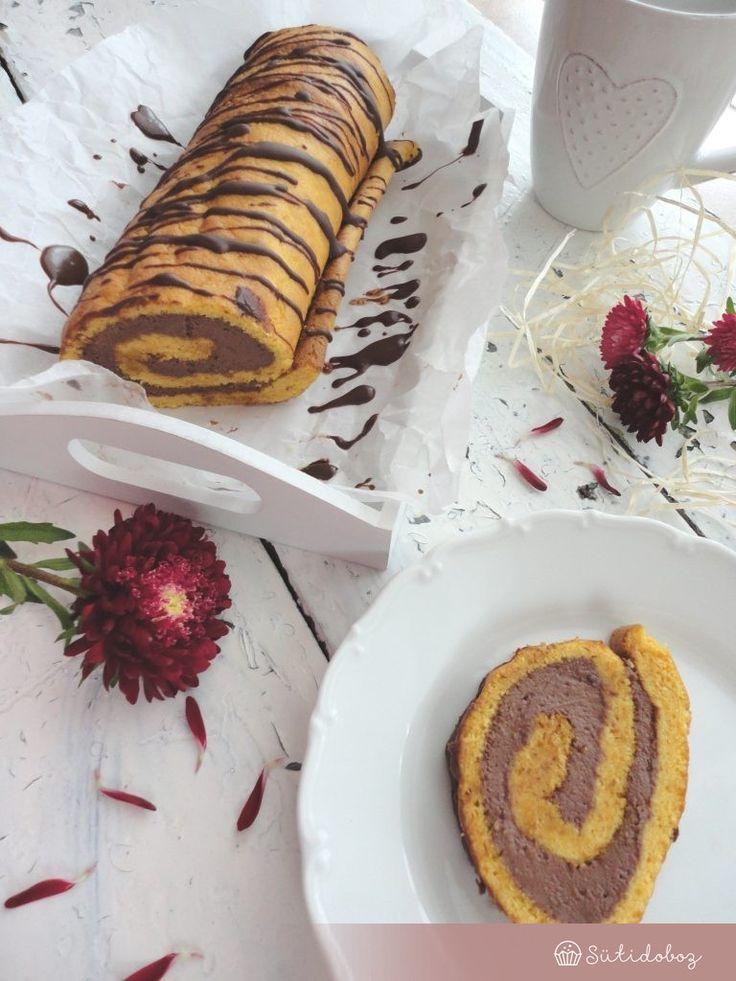 Sütőtökös piskóta tekercs csokis krémmel | Sütidoboz.hu