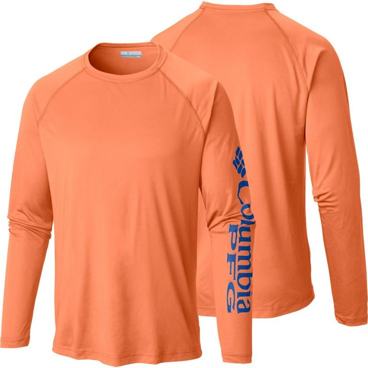 Columbia Men's PFG Terminal Tackle Long Sleeve Shirt, Jupiter/Vivid Blue Logo
