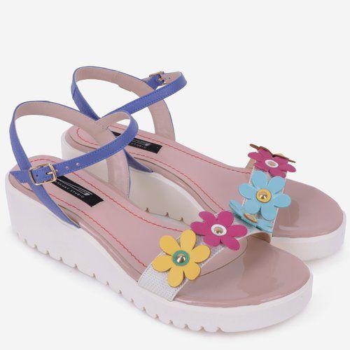 Sandale din piele naturala cu flori multicolore Ayers