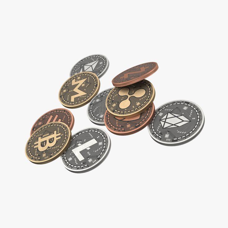 3D Crypto Coins Bitcoin EOS Dash Litecoin NEM Ripple
