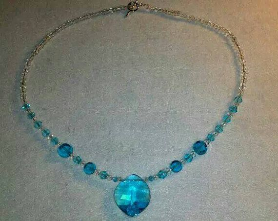 Baby Blue Crystal Necklace by AdriasMadeByHand on Etsy