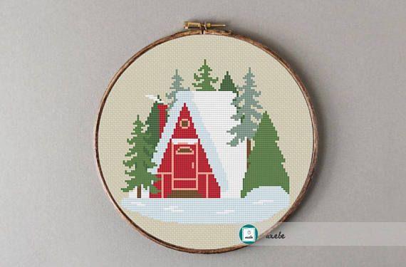 Woodland house cross stitch pattern modern cross stitch