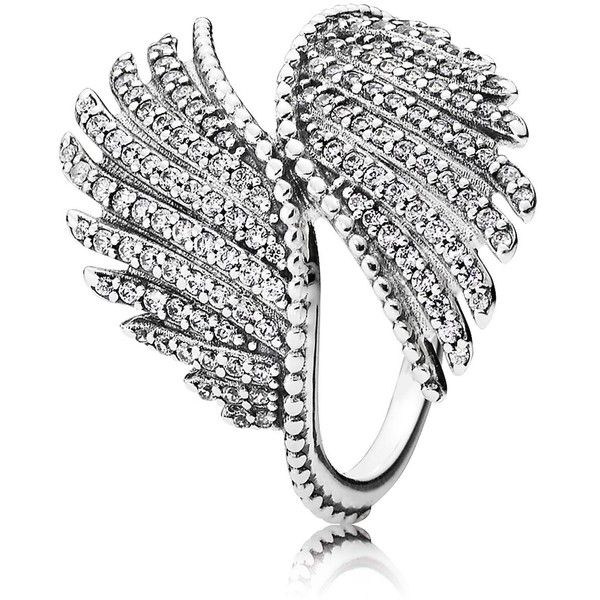 PANDORA Ring - Sterling Silver & Cubic Zirconia Majestic Feathers ($90) ❤ liked on Polyvore featuring jewelry, rings, silver, zirconia rings, feather ring, pandora jewellery, zirconia jewelry and sterling silver feather jewelry
