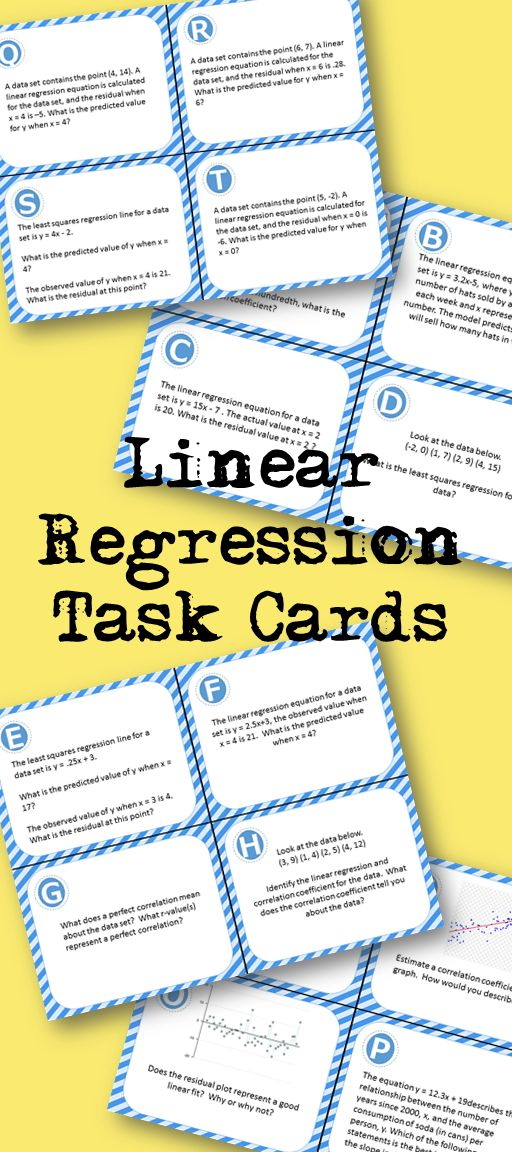Set of 20 Linear Regression Task Cards - Including; correlation coefficient, residuals, and line of regression (least squares regression)