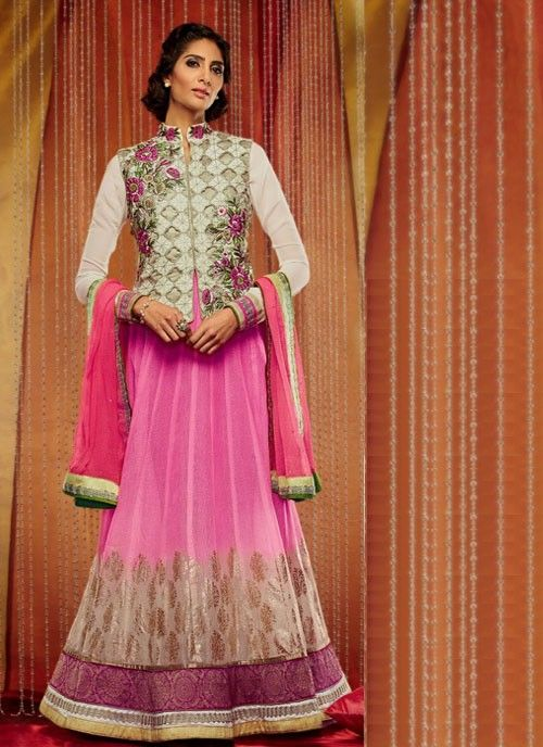 #Pink & #Ivory Tantalizing #Suit With #Embroidery Work