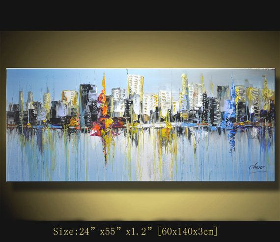 Original Abstract Painting, Modern Textured Painting, Palette Knife cityscape, Home Decor, Painting Oil on Canvas by Chen n106