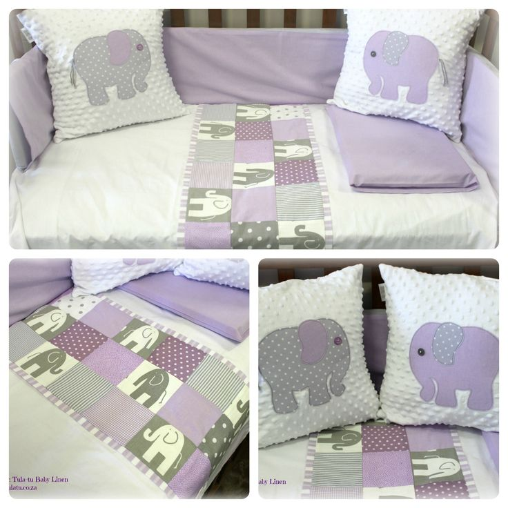 Cot Linen / Nursery linen in lilac & grey elephant theme. For more details and info visit our website: www.tulatu.co.za