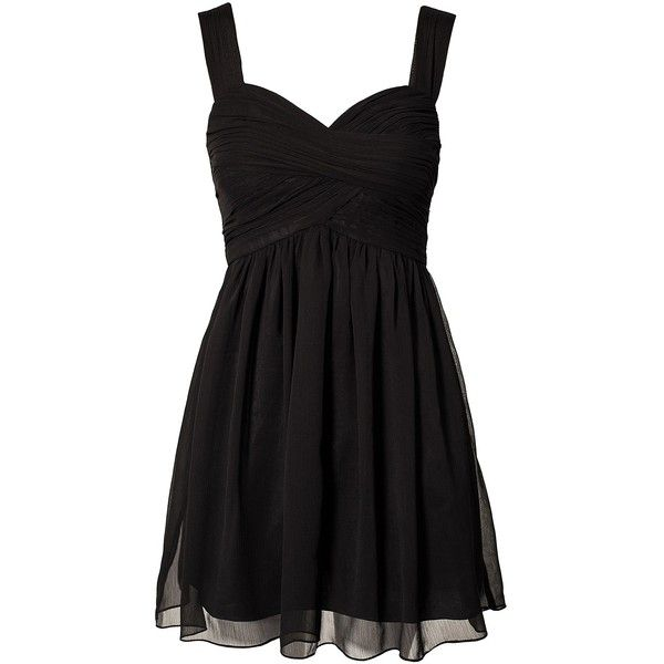Oneness Sunny Dress ($58) ❤ liked on Polyvore featuring dresses, vestidos, robes, short dresses, black, party dresses, womens-fashion, sheer cocktail dress, mini dress and draped cocktail dress
