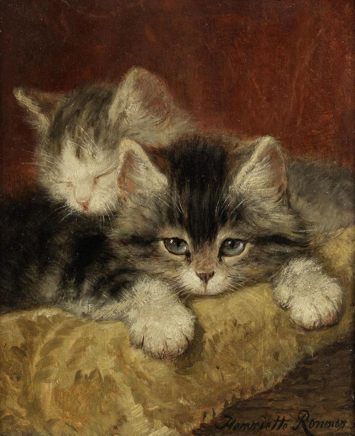 "pintoras: "" Henriette Ronner-Knip (Dutch, 1821 - 1909): Two Kittens on a Pillow (via Bonhams) """