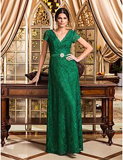regreso a casa vestido de bola de la tarde / militar formal - más verde oscuro los tamaños de una línea de cuello en V de encaje hasta los pies