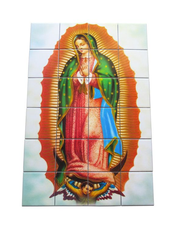 Virgin of Guadalupe - Religious tile mural / mosaic - Our Lady of Guadalupe - indoor and outdoor use - Nuestra Señora de Guadalupe - catholic art - 24 cearmic tiles... by TerryTiles2014