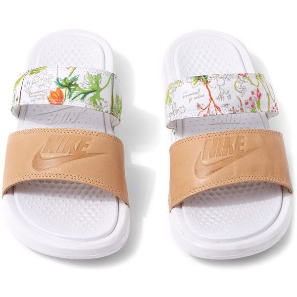 Nike x Liberty White Liberty Print Benassi Duo Ultra Pool Slides (2.020 UYU) ❤ liked on Polyvore featuring shoes, sandals, leather tennis shoes, flower print shoes, genuine leather shoes, floral print shoes and beach footwear