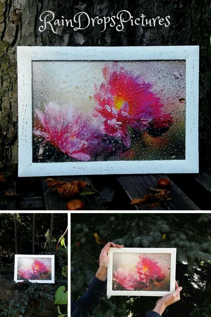 Wall decor Picture flowers framed Floral image Pink flowers Bouquet flowers picture Decoupage 3D No glass decor rain drops botanical picture