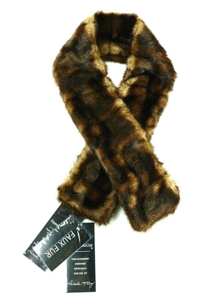 Pamela McCoy Women's Scarf winter 2 sides Faux Fur Brown Scarves Fast Shipping #PamelaMcCoy #Scarf