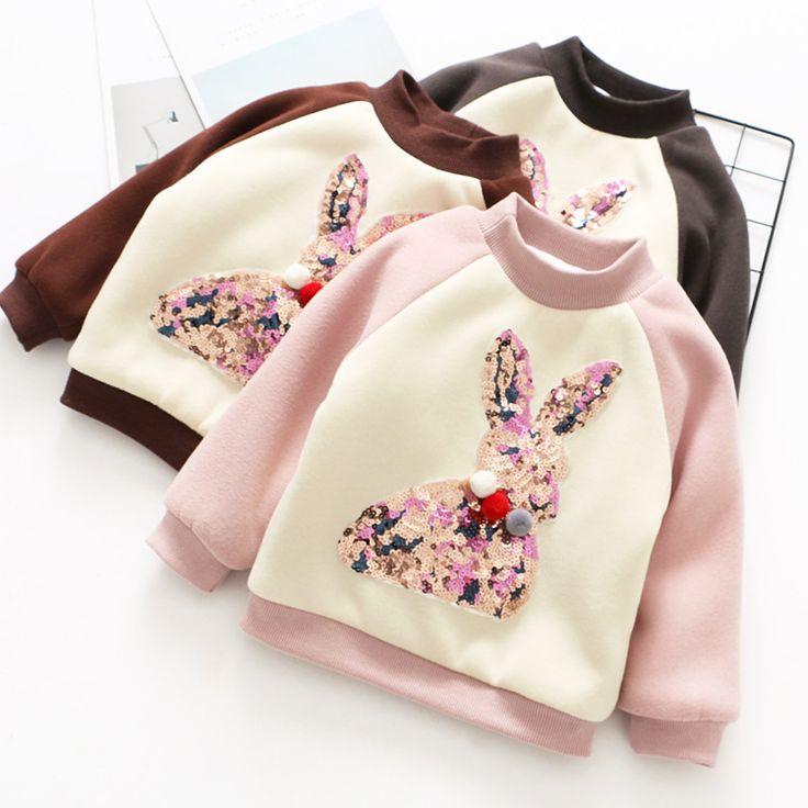 Kids T-shirt 2017 Children Clothes Girls Sweatshirt Autumn Winter Cute Sequins Rabbit Cotton Baby Girl Tops Shirt with Pom Poms //Price: $30.08 //     #kids