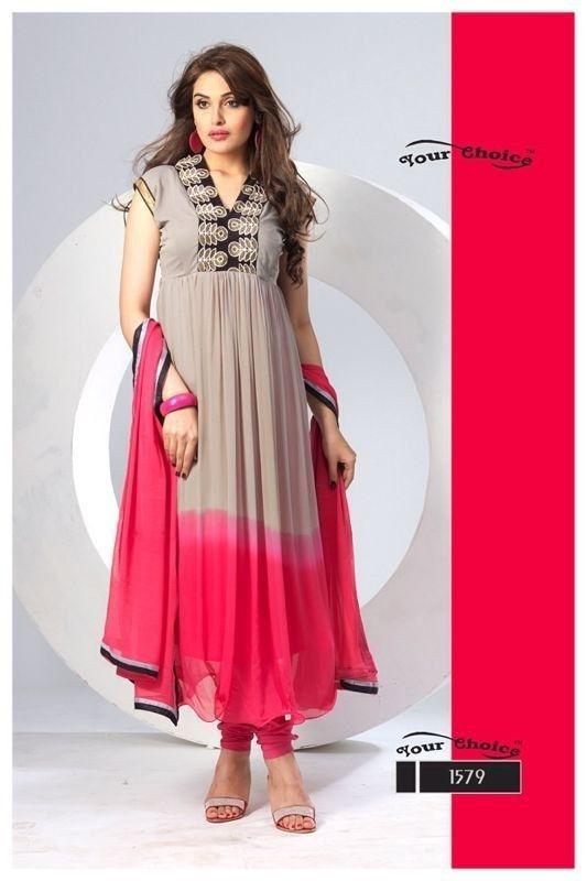 211006_Beautiful Shaded Gray & Red colour Anarkali suit-Salwar Suit-FAYADA BAZAAR